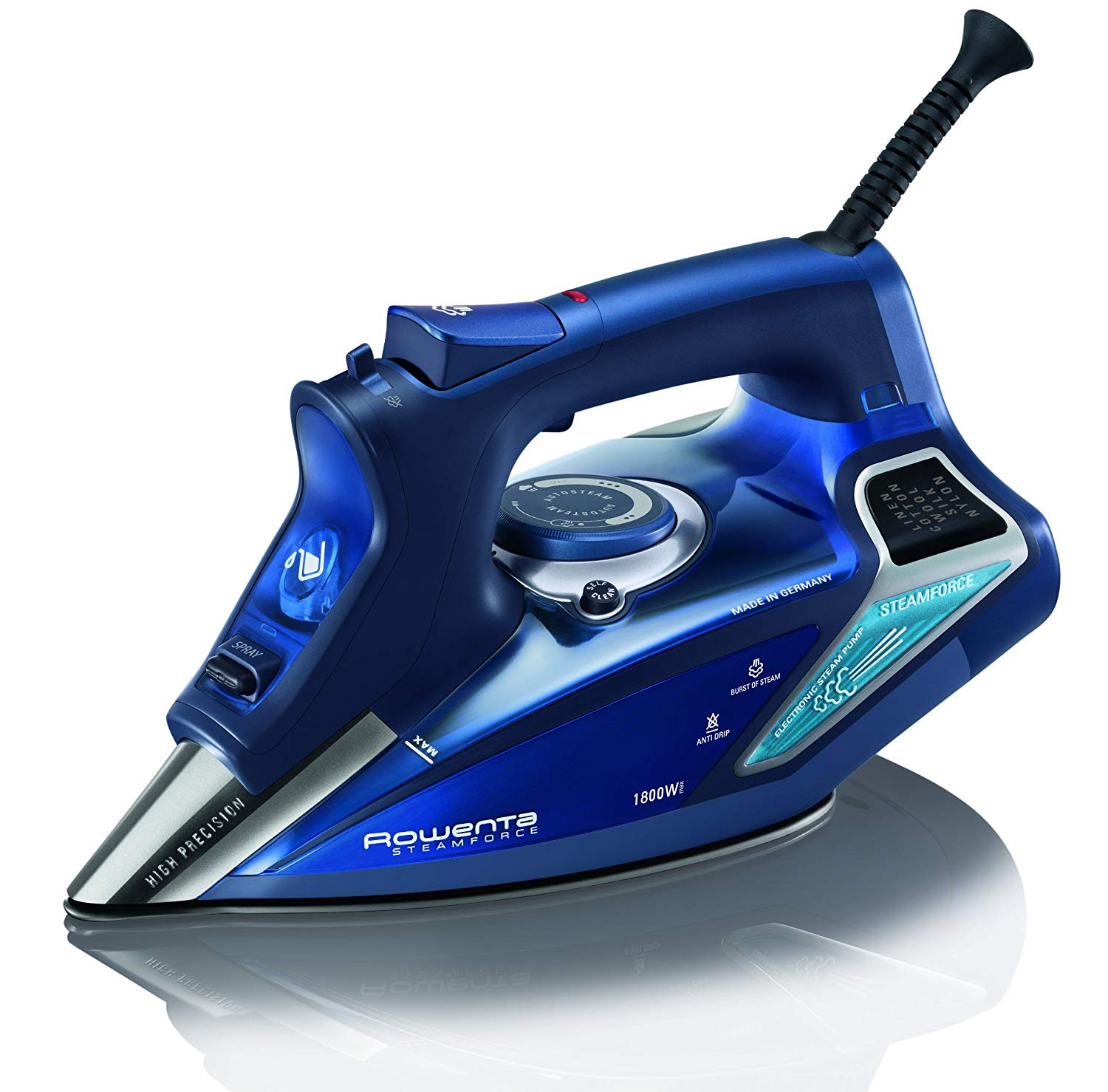 1. Rowenta Steam Iron, Stainless Steel Soleplate, Digital LED Display, Blue: