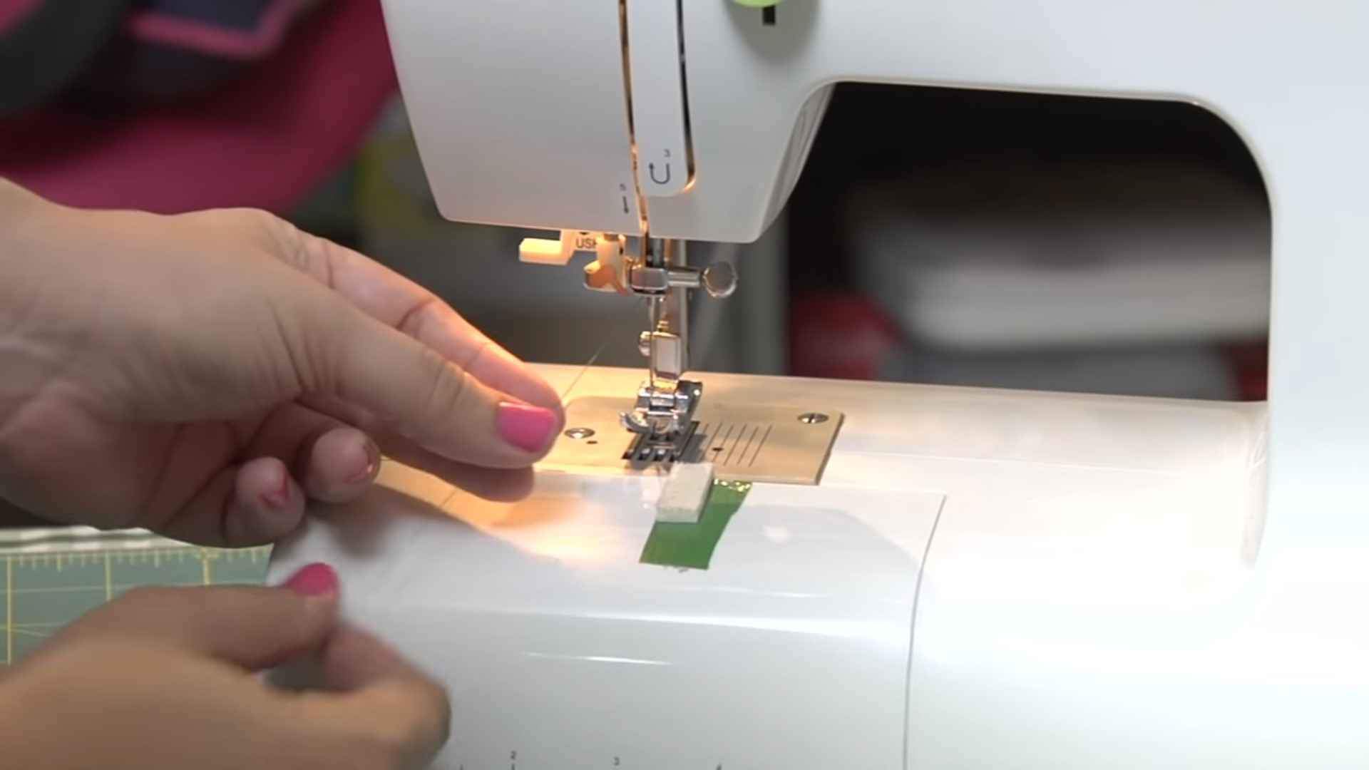 Placing the thread on the machine